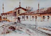 Продам. Крымский пейзаж. Ханский дворец. Бахчисарай. Акварель
